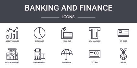 set of 10 banking and finance concept line icons.