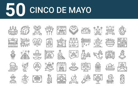 set of 50 cinco de mayo icons. outline thin line Ilustrace
