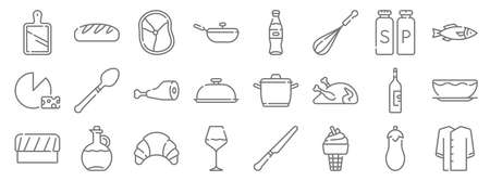 gastronomy line icons. linear set. quality vector line
