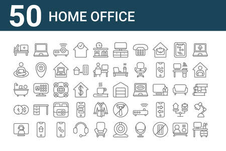 set of 50 home office icons. outline thin line