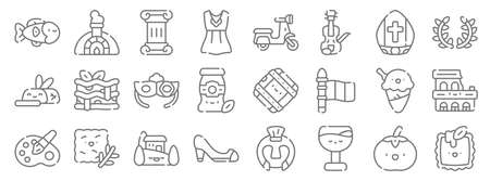 italy line icons. linear set. quality vector line 向量圖像