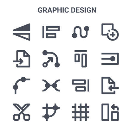 set of 16 graphic design concept vector line icons.