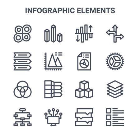 set of 16 infographic elements concept vector line icons. Çizim