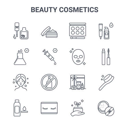 set of 16 beauty cosmetics concept vector line icons. 向量圖像