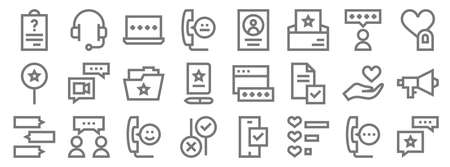 feedback and testimonials line icons. linear set. quality vector line