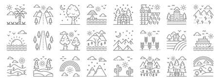 nature and landscape line icons. linear set. quality vector line. Ilustrace