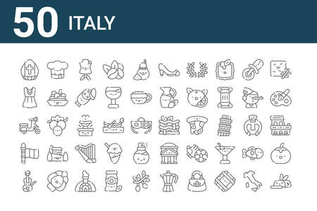 set of 50 italy icons. thin outline.