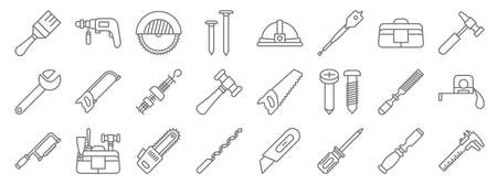carpentry line icons. linear set. quality vector line.