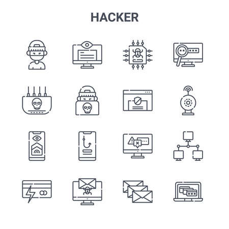 set of 16 hacker concept vector line icons.