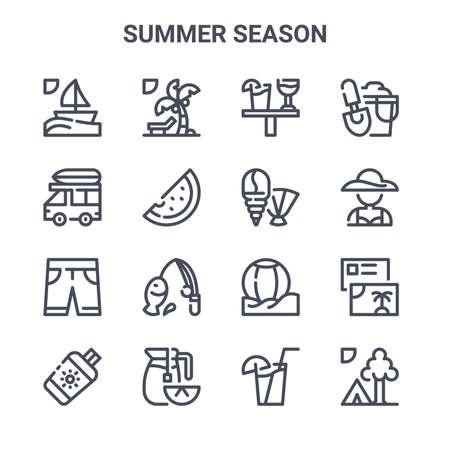set of 16 summer season concept vector line icons.