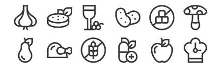 12 set of linear nutrition icons. thin outline