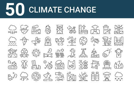 set of 50 climate change icons. outline thin line. Çizim