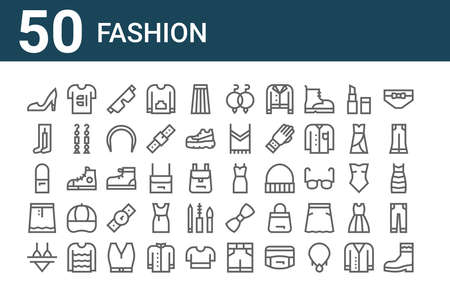 set of 50 fashion icons. outline thin line.