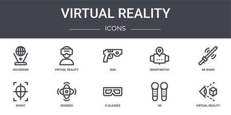 set of 10 virtual reality concept line icons.