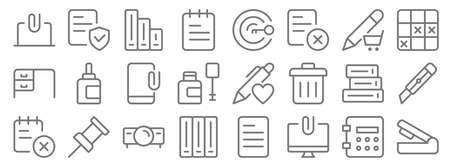 work office supply line icons. linear set. quality vector line  イラスト・ベクター素材
