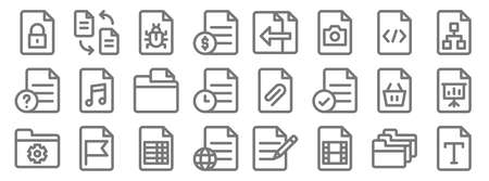 document and files line icons. linear set. quality vector line.