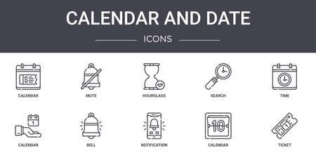 set of 10 calendar and date concept line icons. Ilustracja