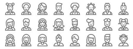 people line icons. linear set. quality vector line