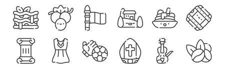set of 12 linear italy icons. thin outline.