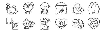 12 set of linear animal welfare icons. thin outline.