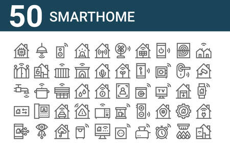 set of 50 smarthome icons. outline thin line