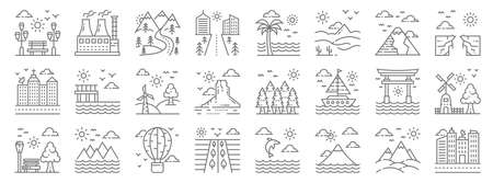 nature and landscape line icons. linear set. quality vector line. Ilustração