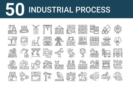 set of 50 industrial process icons. outline thin line icons such as protection, products, conveyor belt, factory, drilling machine, conveyor, renewable energy