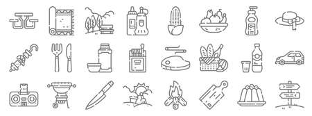 picnic line icons. linear set. quality vector line.