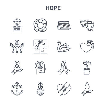 set of 16 hope concept vector line icons.