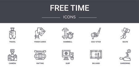 10 free time concept line icons set. 向量圖像
