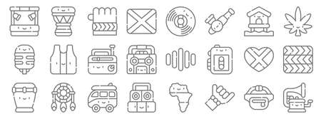 reggae line icons. linear set. quality vector line.