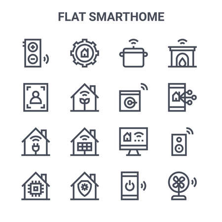 set of 16 flat smarthome concept vector line icons. Ilustracja