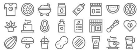 vegan line icons. linear set. quality vector line.