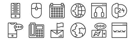 12 set of linear contact icons. thin outline. Ilustração