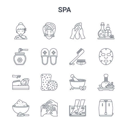 set of 16 spa concept vector line icons.