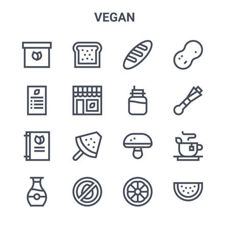 set of 16 vegan concept vector line icons.