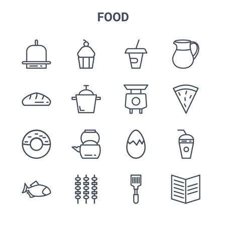 set of 16 food concept vector line icons.