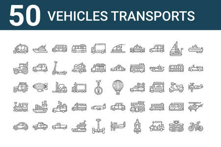 set of 50 vehicles transports icons. thin outline Vettoriali