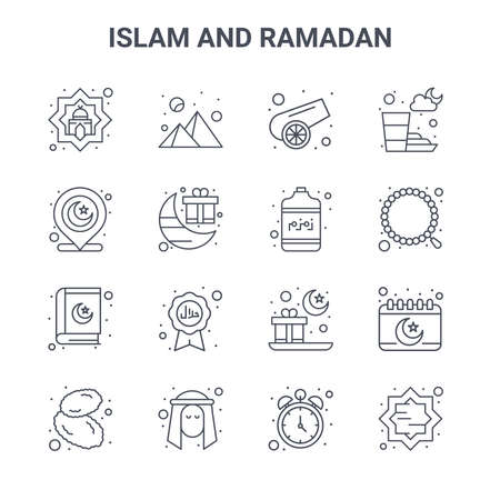 set of 16 islam and ramadan concept vector line icons.