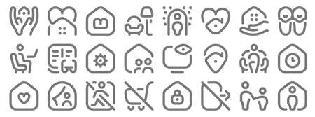 stay at home line icons. linear set. quality vector line.