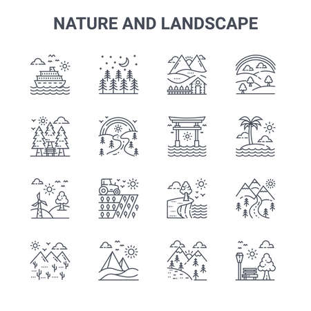 set of 16 nature and landscape concept vector line icons. Ilustração