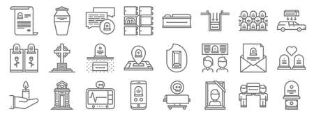 funeral line icons. linear set. quality vector line.