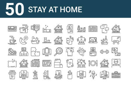 set of 50 stay at home icons. outline thin line. Ilustrace