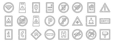 signals and prohibitions line icons. linear set. quality vector line.  イラスト・ベクター素材