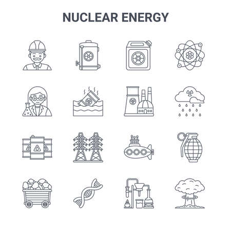 set of 16 nuclear energy concept vector line icons.