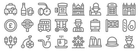 england line icons. linear set. quality vector line.