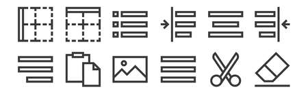 12 set of linear text editor icons. thin outline. Illustration