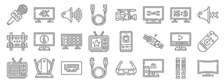 television line icons. linear set. quality vector line