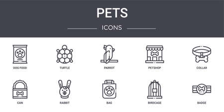 10 pets concept line icons set. Illustration