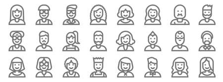 people line icons. linear set. quality vector line.